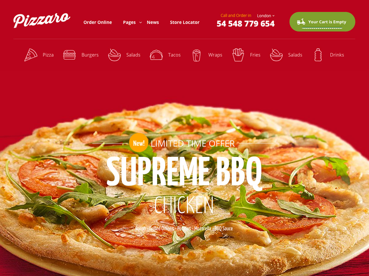 Screenshot of Pizzaro Fast food & Restaurant WooCommerce theme