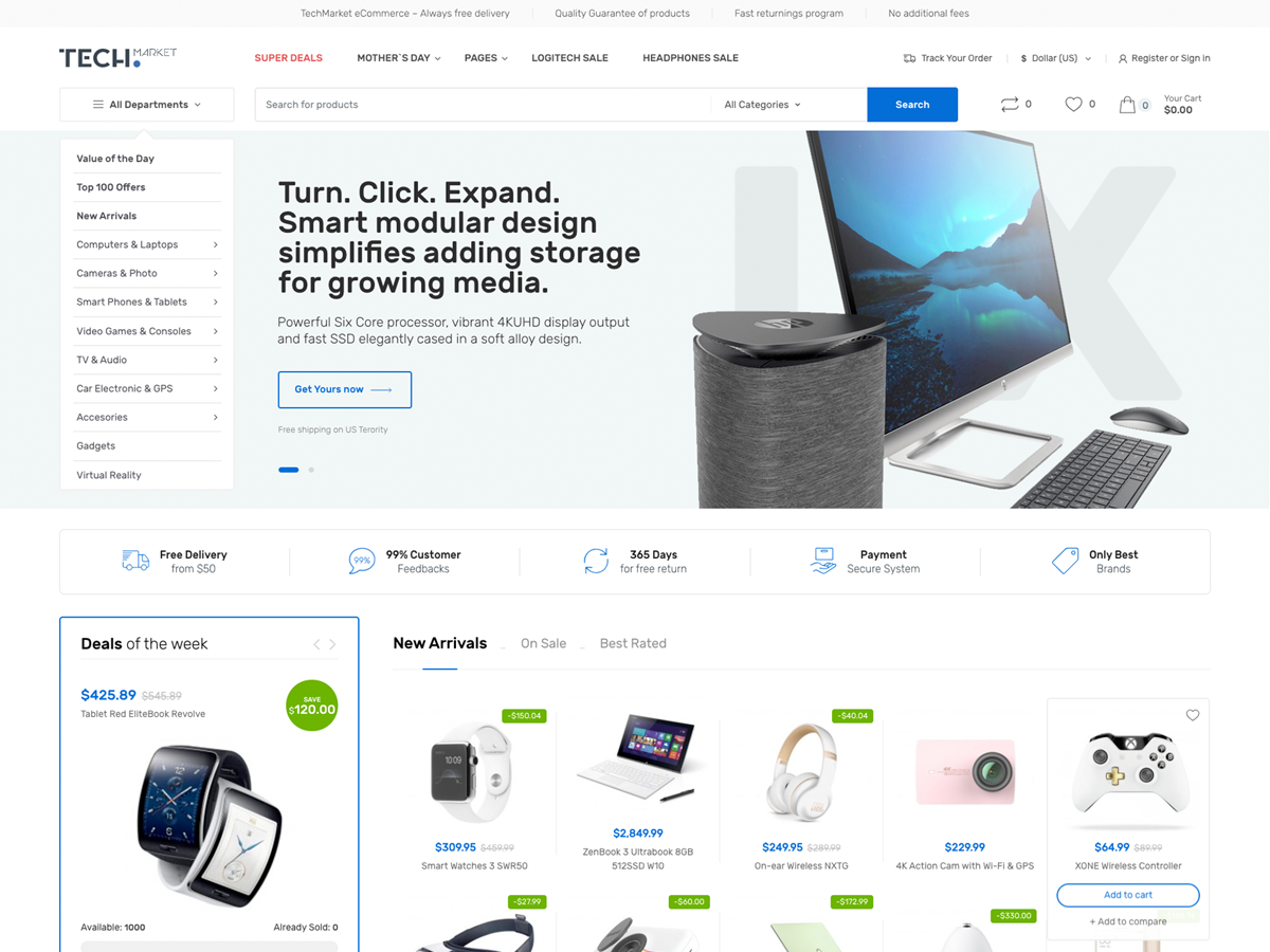 Screenshot of Techmarket Multi-demo & Electronics Store WooCommerce theme